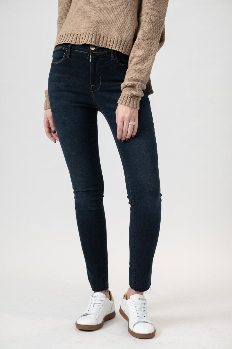 Le High Skinny Raw Edge Slit Rivet in Dark Denim