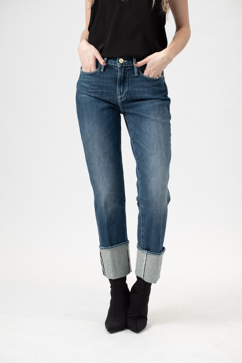 Le High Straight Big Cuff Jean in Park City Denim