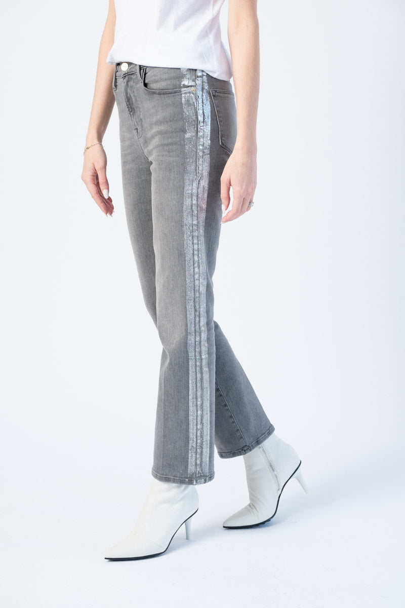 Le High Straight Jeans in Field Foil Tux