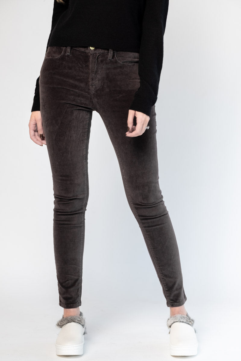 Le Velveteen High Skinny in Charcoal