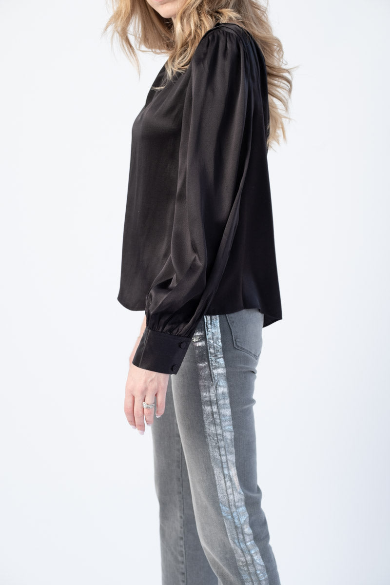 Relaxed One Shoulder Top in Noir