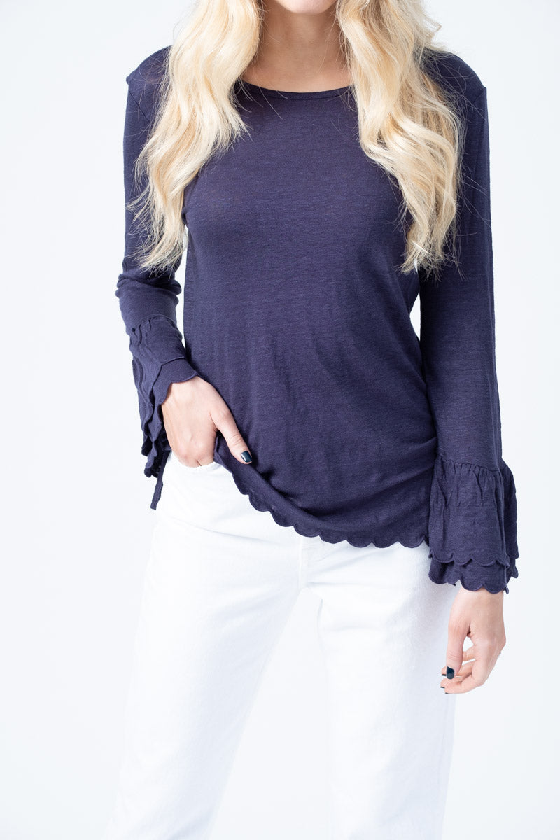 Scalloped Linen Bell Sleeve Top in Navy