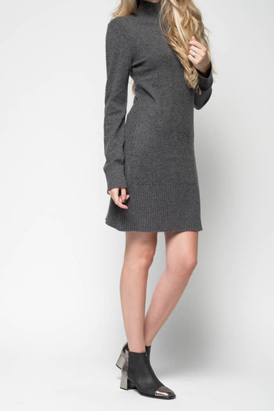 Turtleneck Sweater Dress in Charcoal