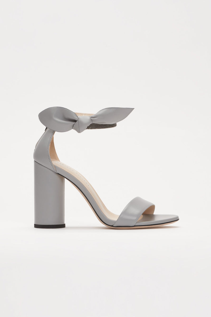 Ester Heeled Leather Sandals in Rock Grey