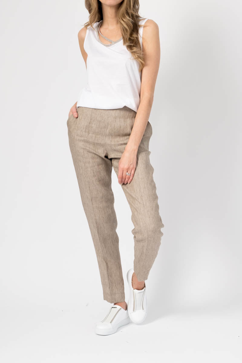 Linen Pull On Pants in Natural