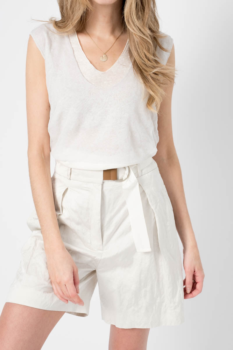 Linen Textured Sleeveless Top in Rain