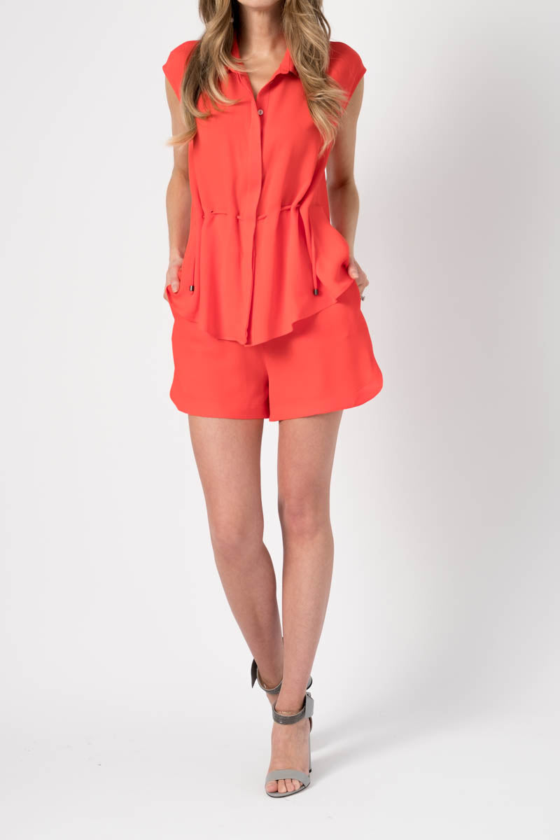 Silk Crepe Shorts in Flame