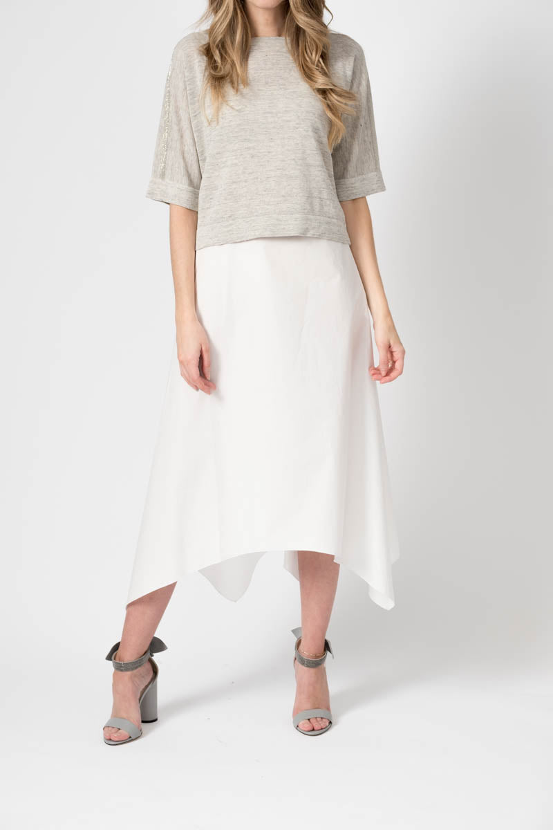 Twofer Dress in White with Grey Knit