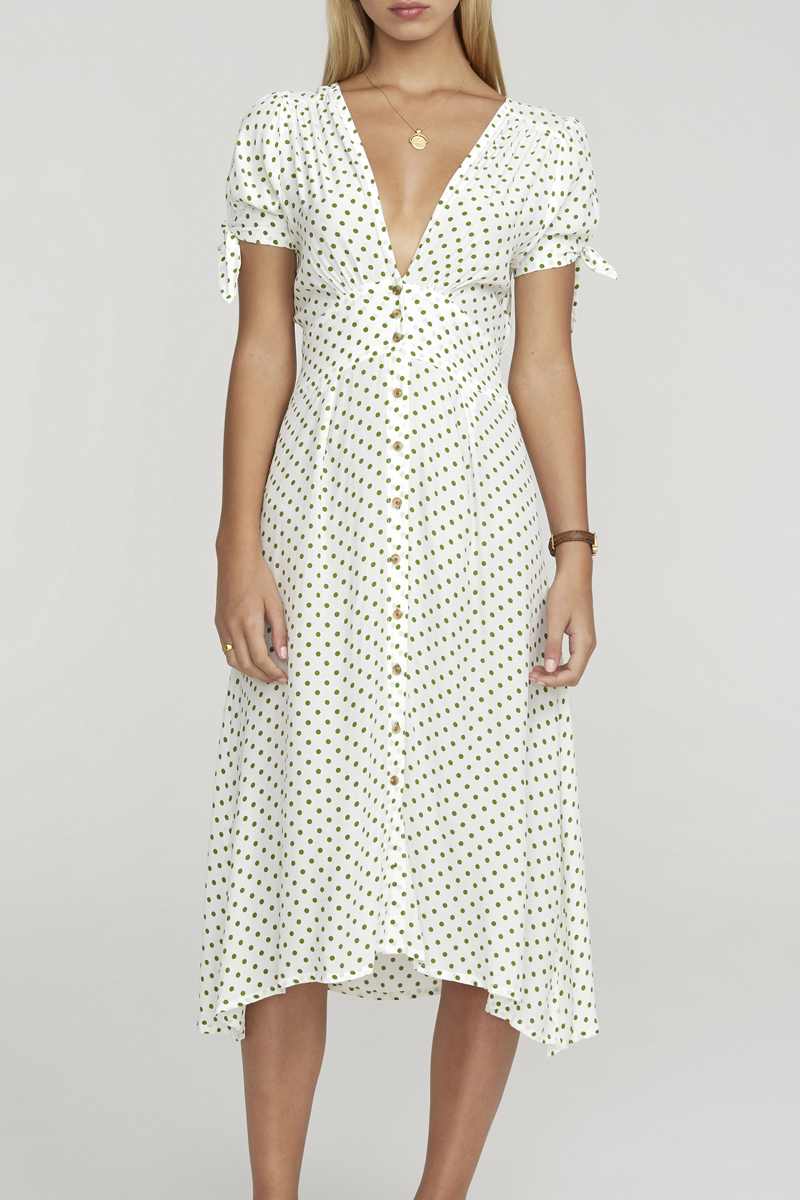 Billie Midi Dress in Lula Dot Print Green