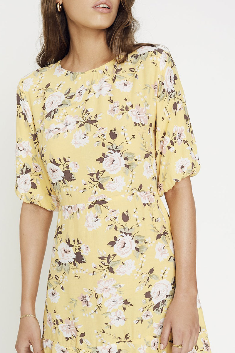 Jeanette Dress in Pomeline Floral Print Jasmin Yellow