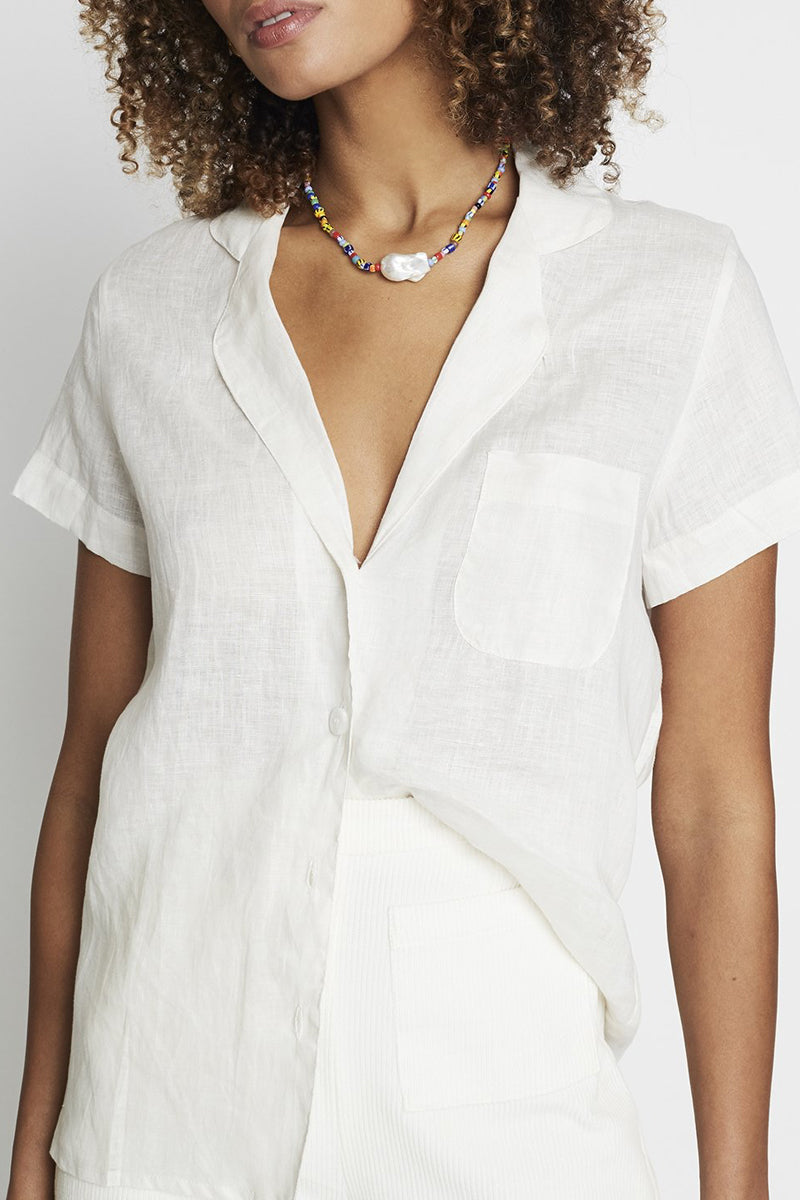 Maisy Short Sleeve Shirt in Plain Vanilla