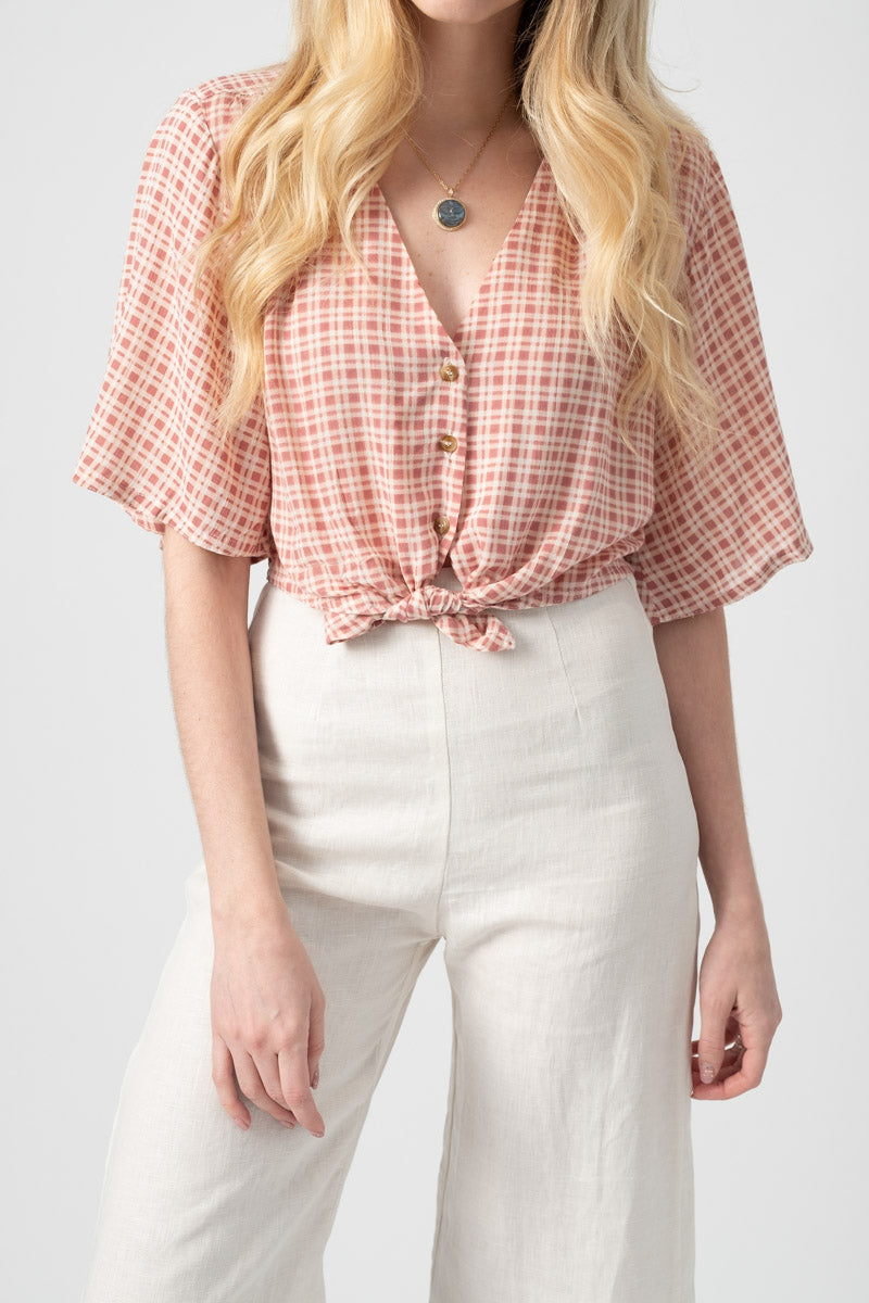 Boulevards Top in Emilinah Check Print Vintage Pink