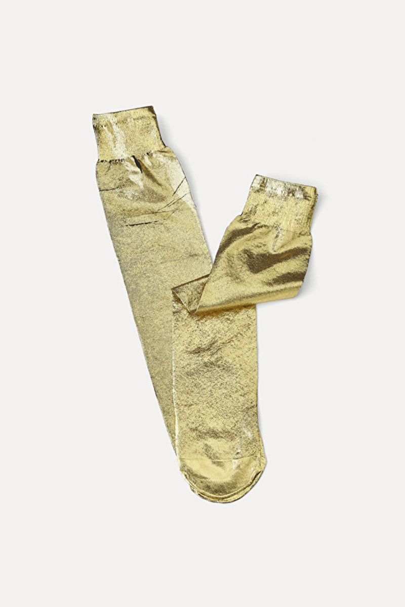 Laminated Knee Socks in Oro