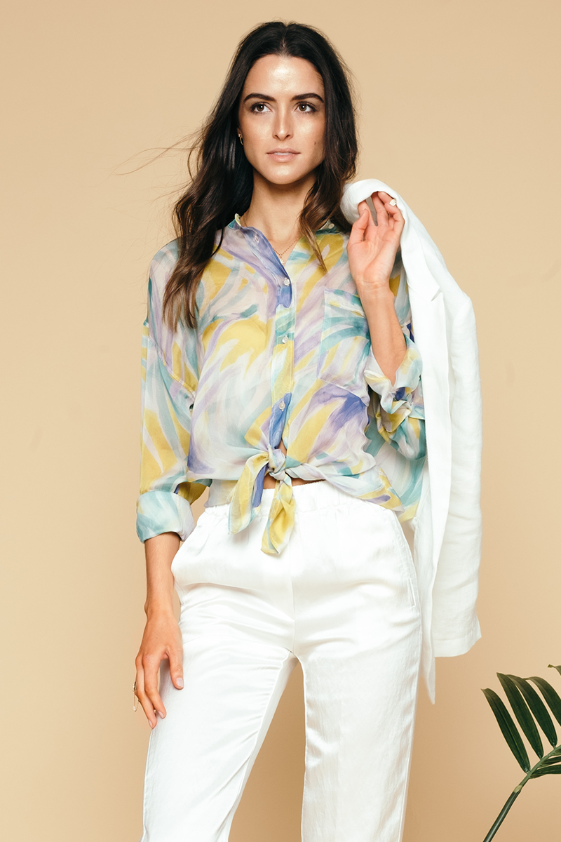 Panarea Print Chiffon Silk Shirt in Lime