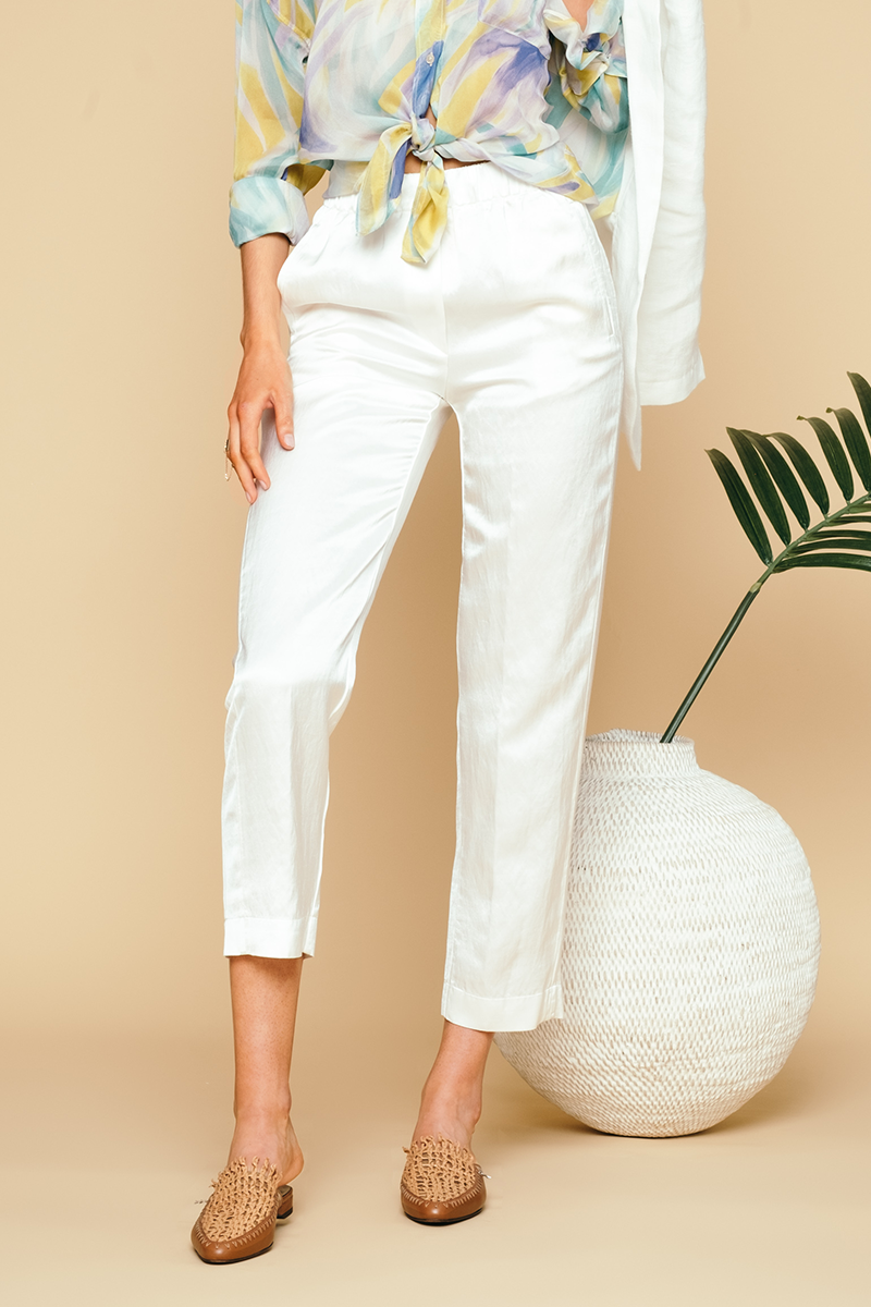 Ramie Satin Pants in Bianco