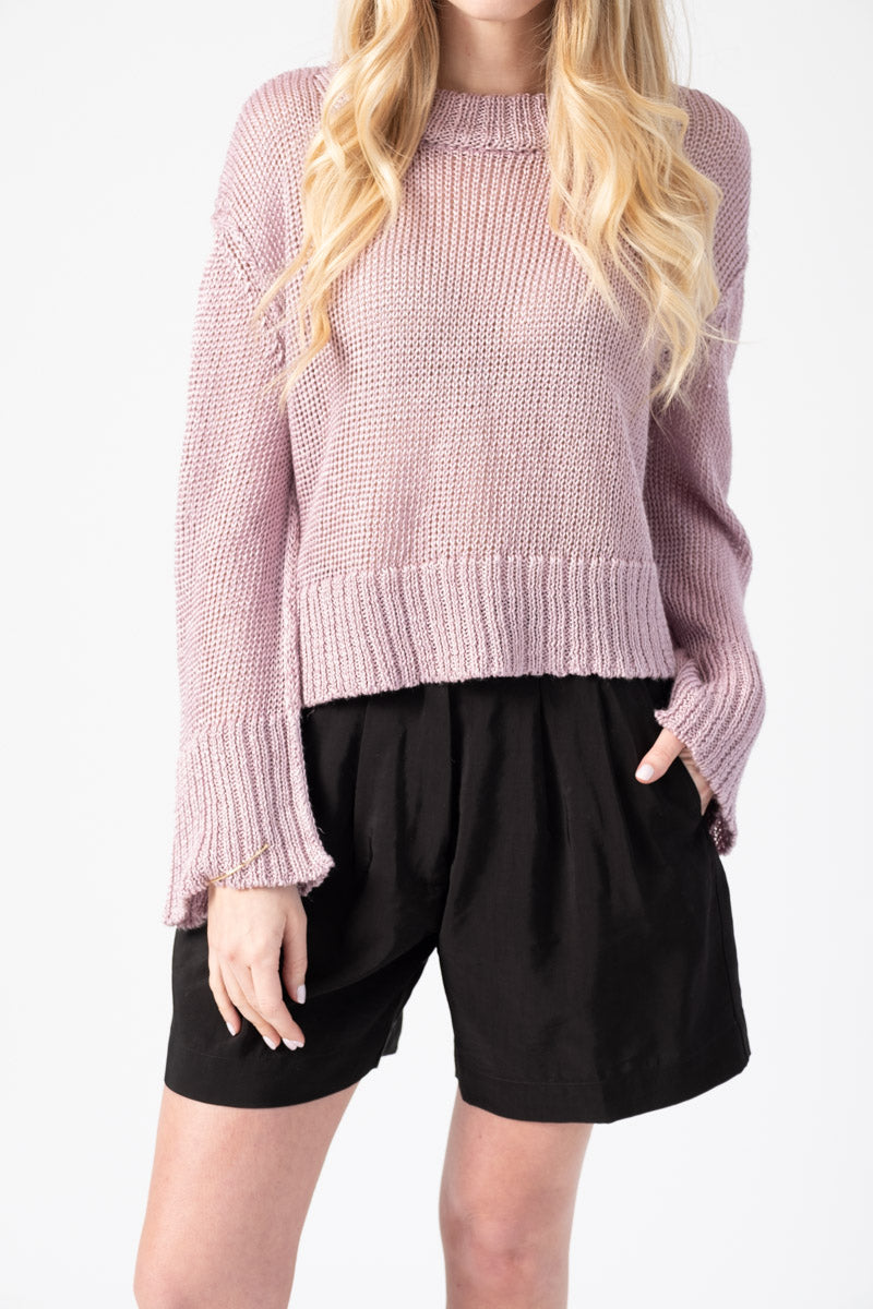 Linen Viscose Sweater in Mauve