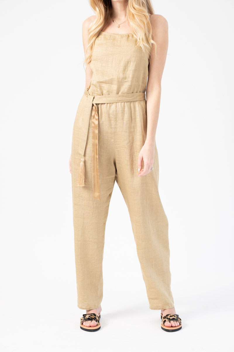 Shantung Canvas Jumpsuit in Oro
