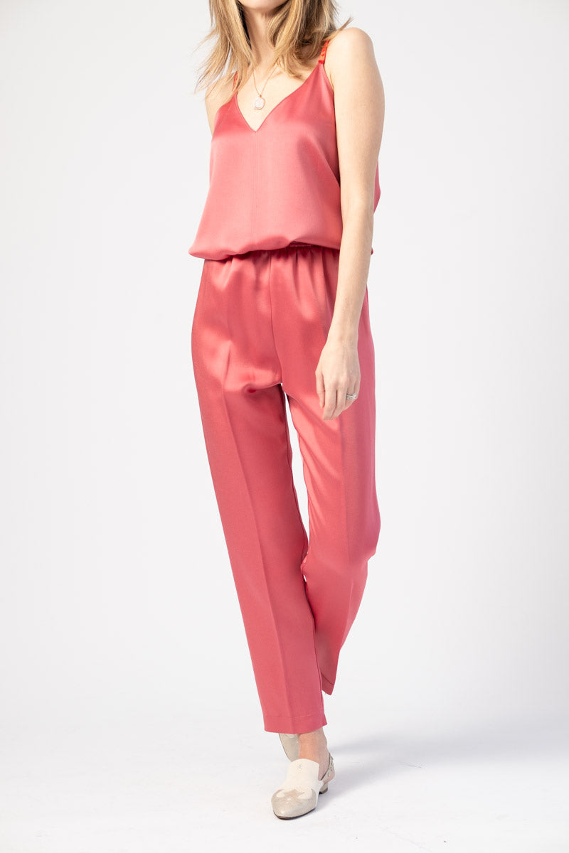 Envers Satin Crepe Elasticated Pants in Hibiscus