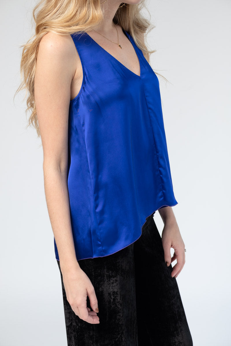 Fluid Satin Top in Bluette