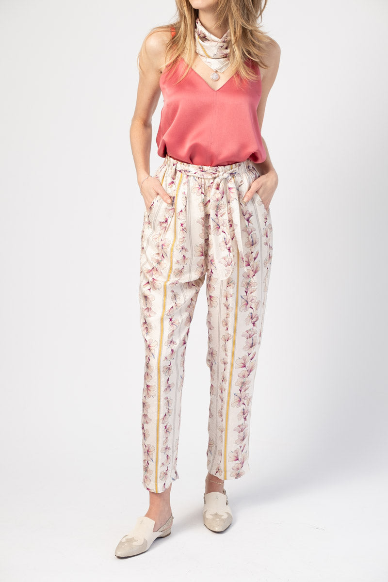 Guadaloupe Print Fluid Jacquard Elasticated Pants in Cipria