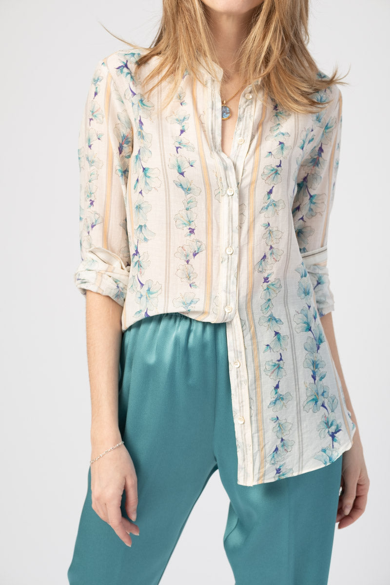 Guadaloupe Print Voile Shirt in Indaco