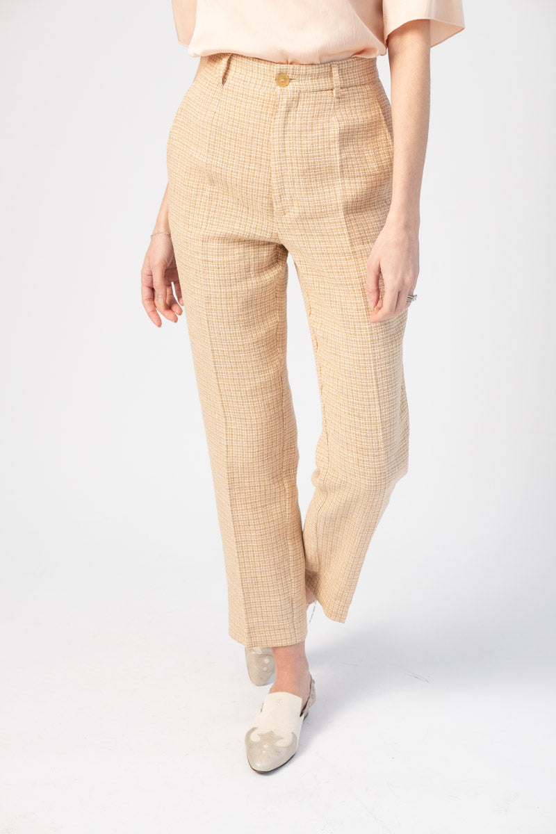 Handcrafted Linen Cotton Vichy Pants in Rosa