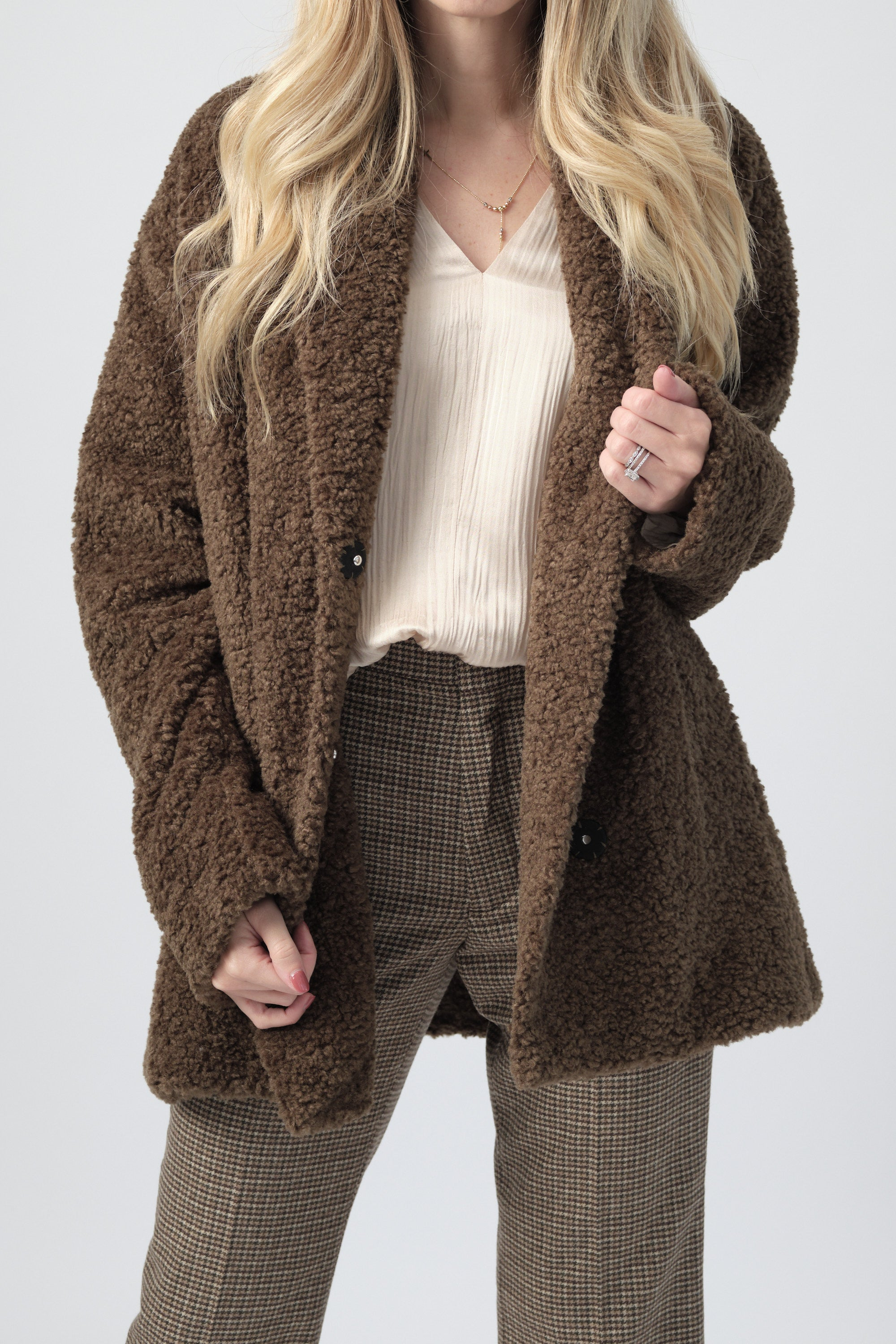 Oversized Faux Shearling Short Coat in Forest