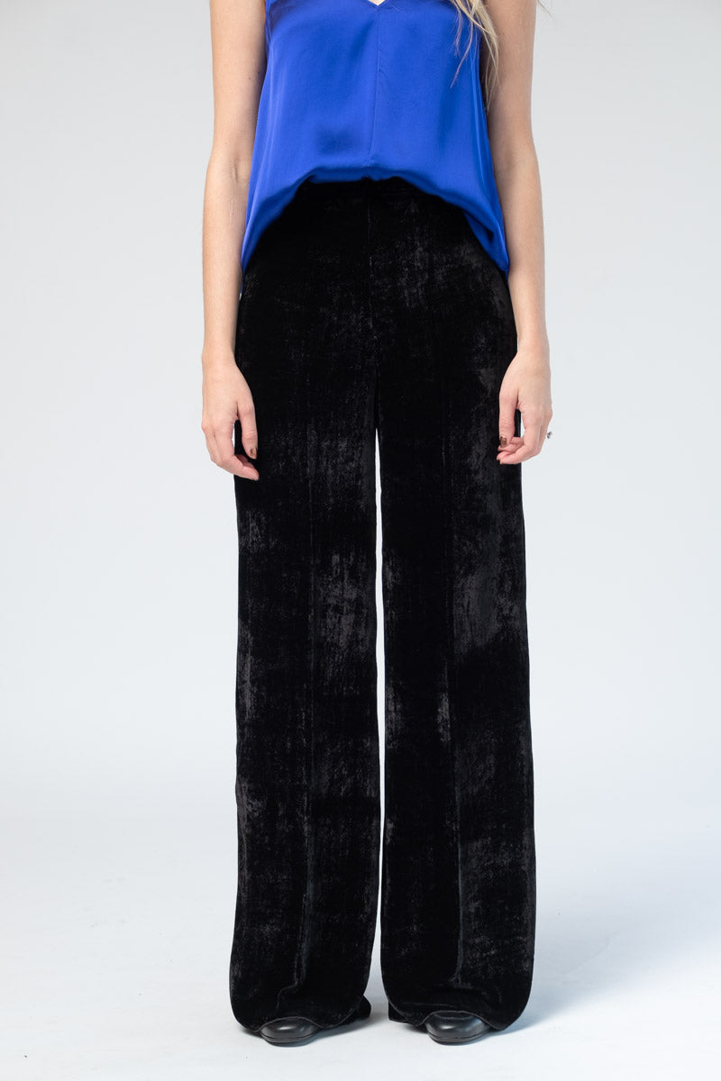 Velvet High Waist Pants in Nero