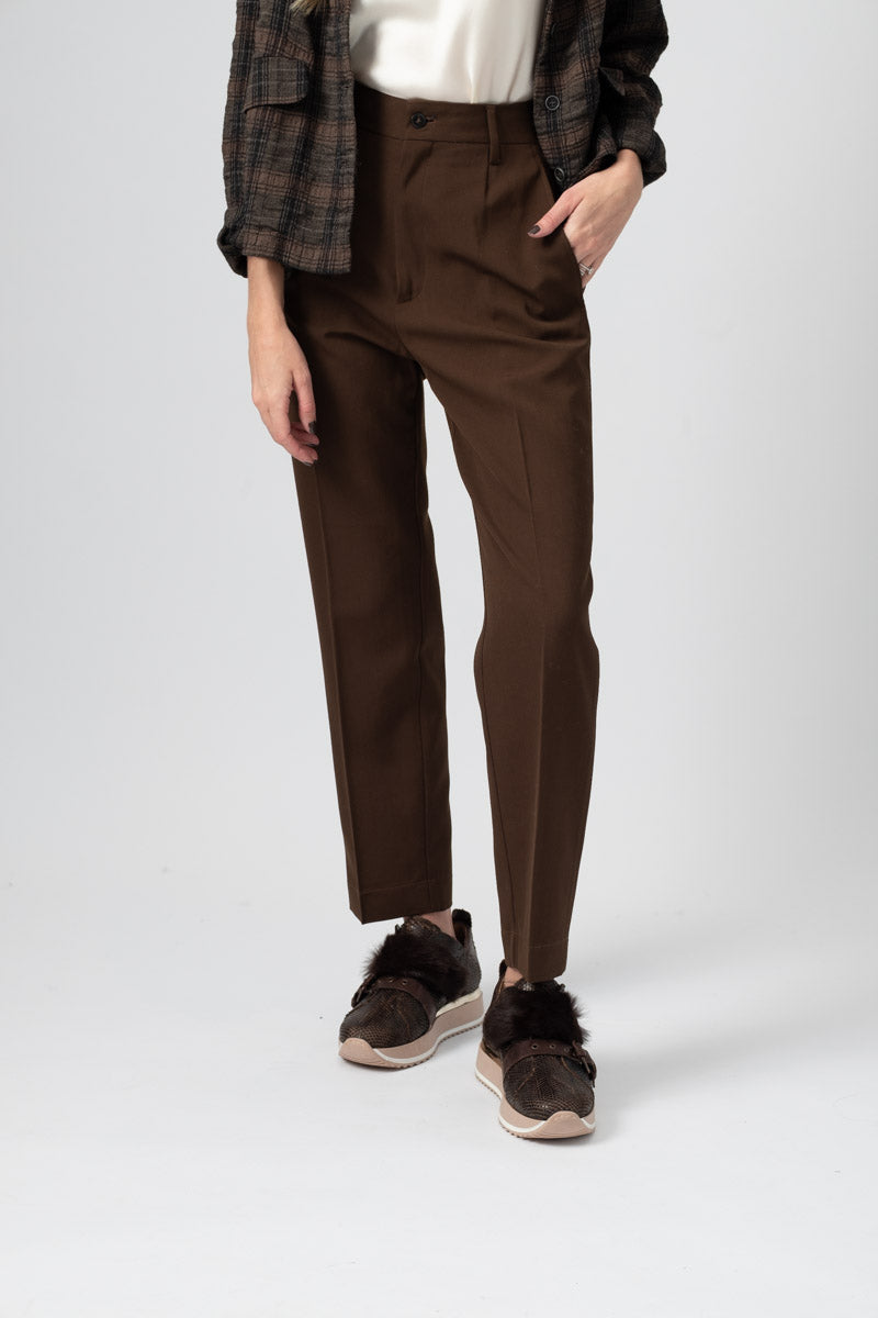 Wool Canvas High Waisted Pants in Forest