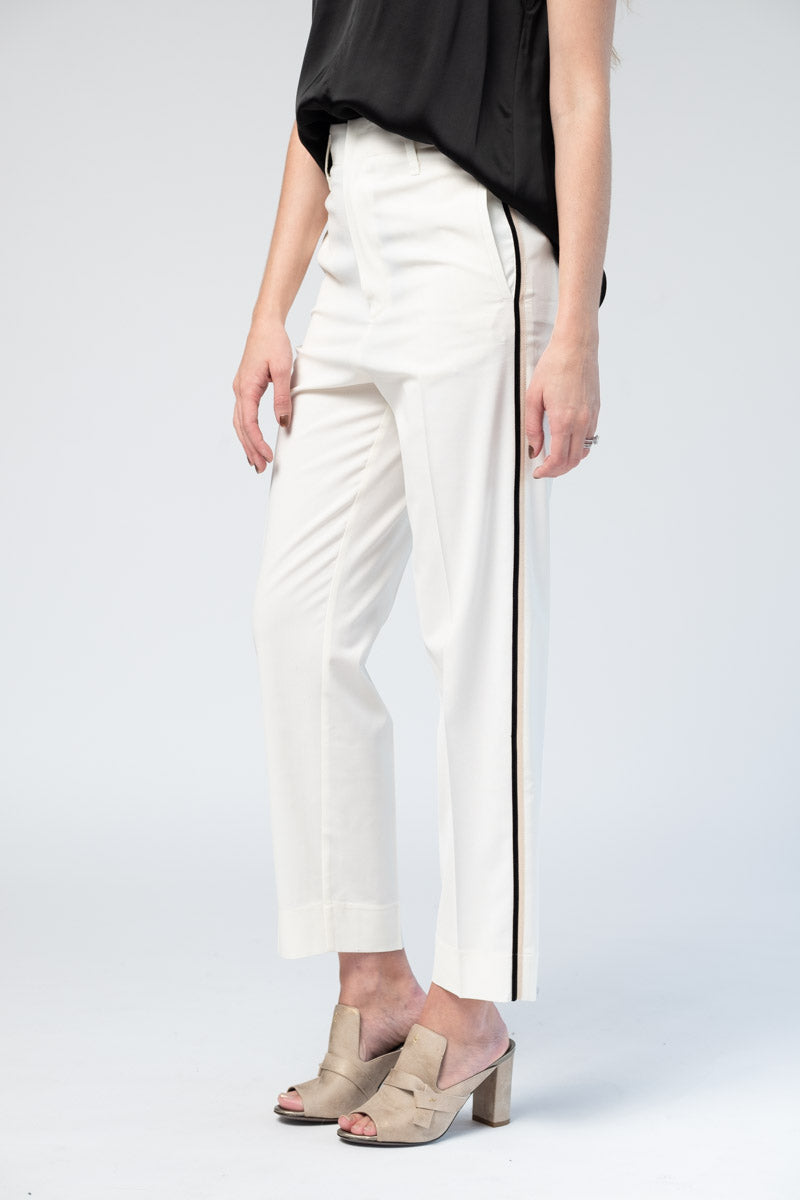 Wool Pants with Side Ribbon Tape in Bianco