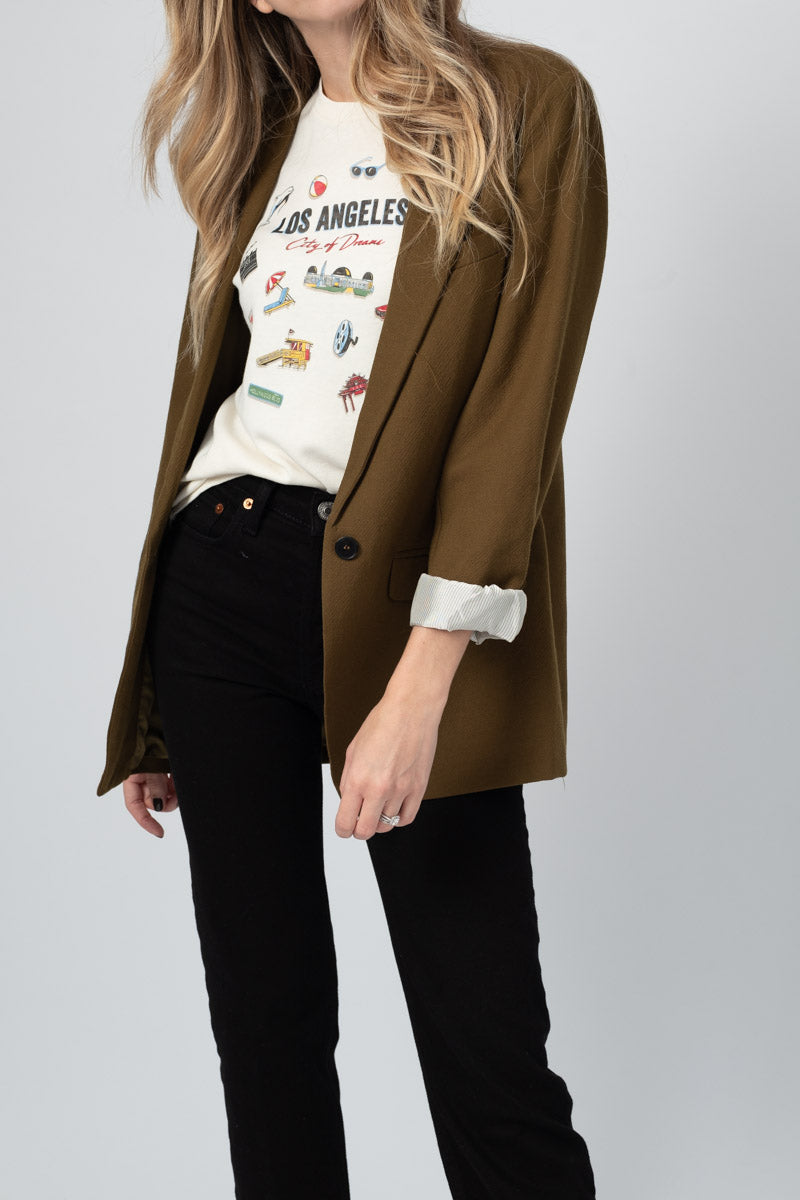 Wool Structured Jacket in Khaki