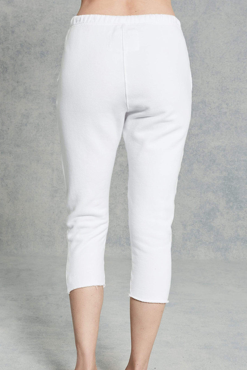 Cropped Sweatpants With Raw Hem in White