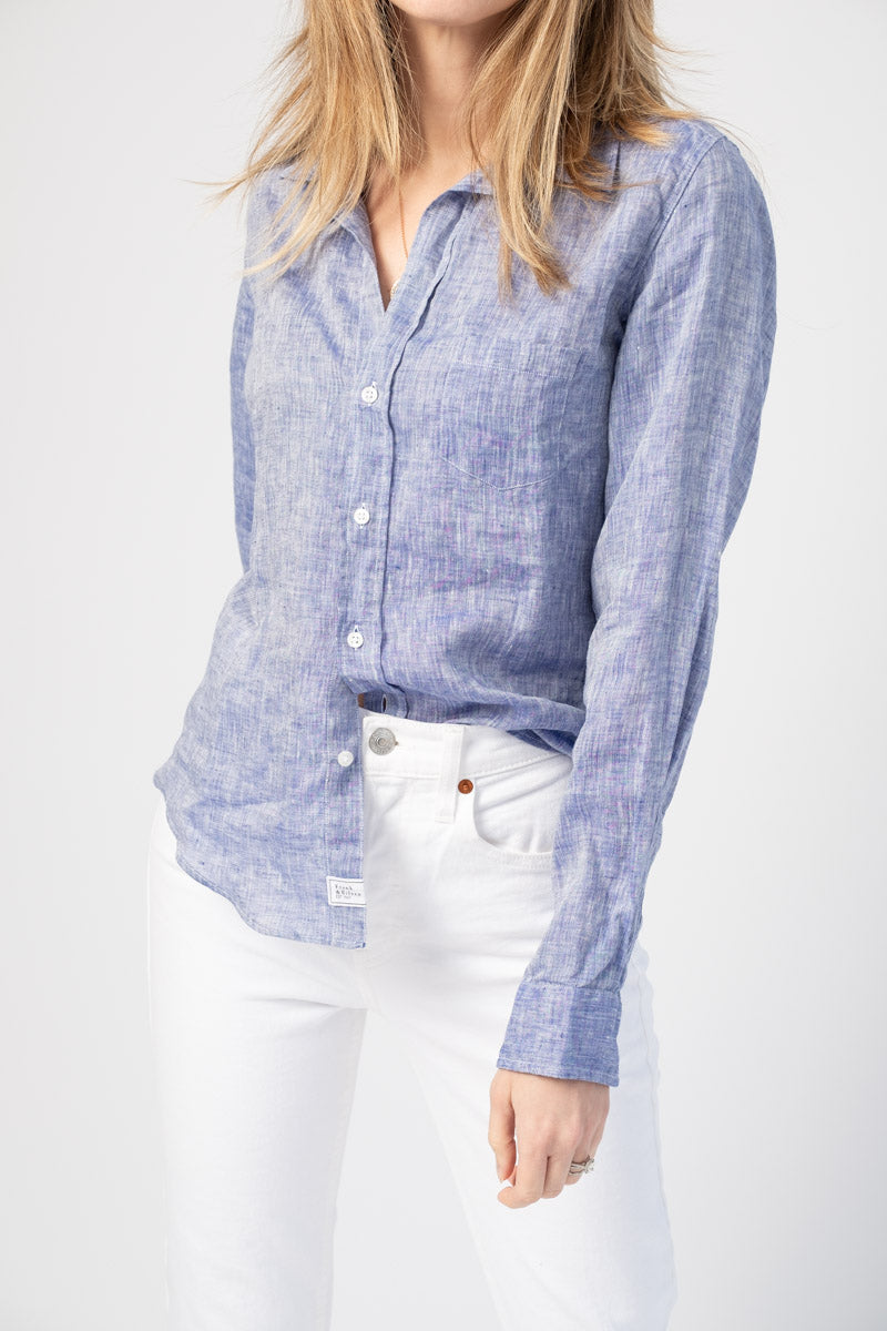 Barry Long Sleeve Button-Down Shirt in Blue