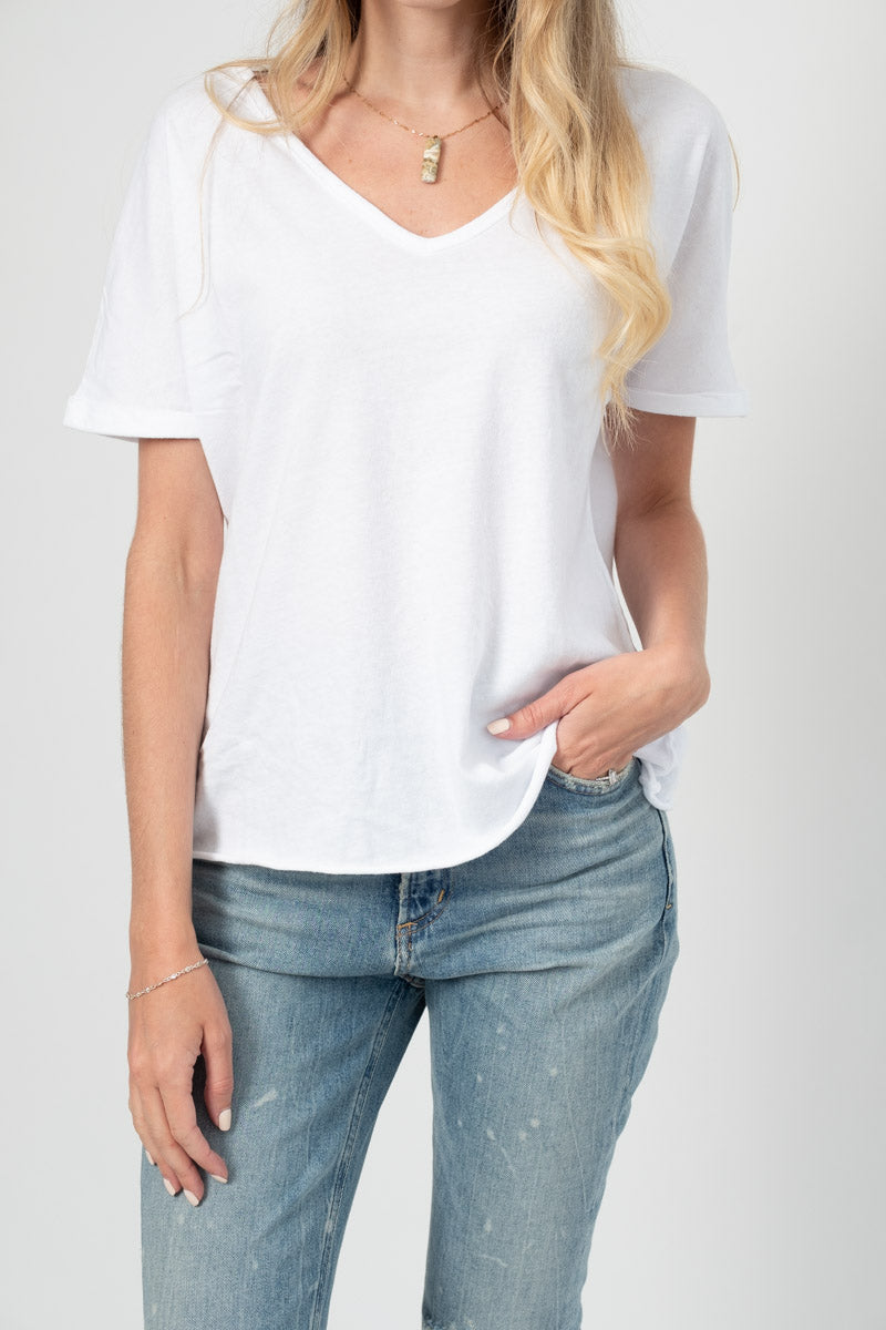 Deep V-Neck Tee in White