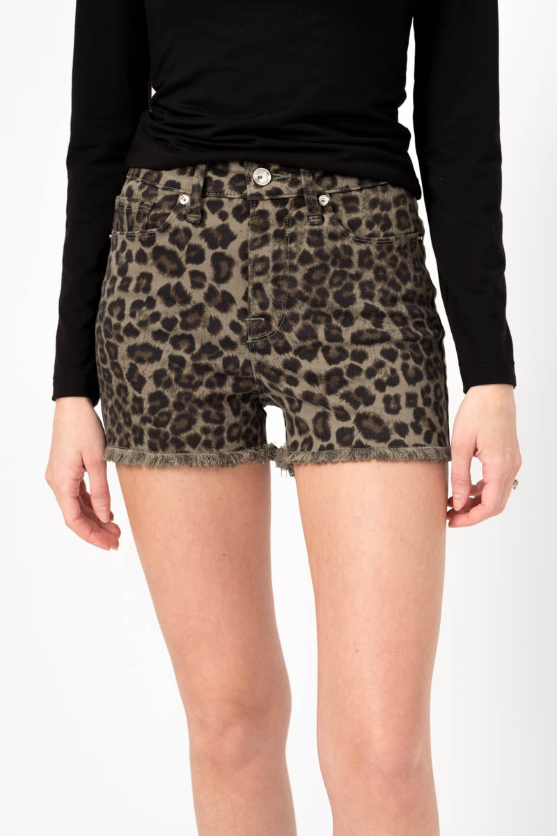Cut Off Short in Sage Leopard