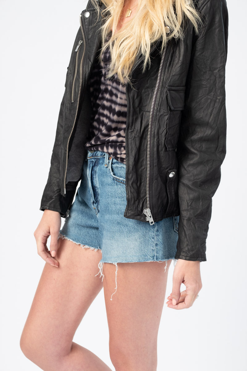 Helena High Rise Cut Off Shorts in Slow Burn