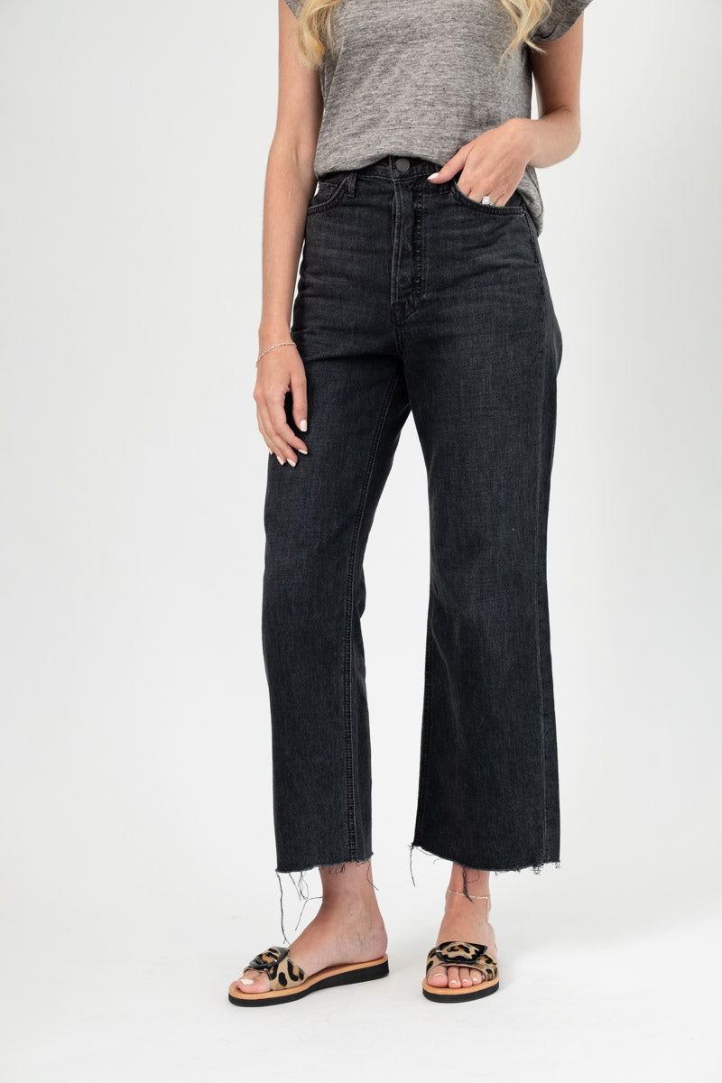 Bobbi High Rise Wide Leg Crop in Black On The Road