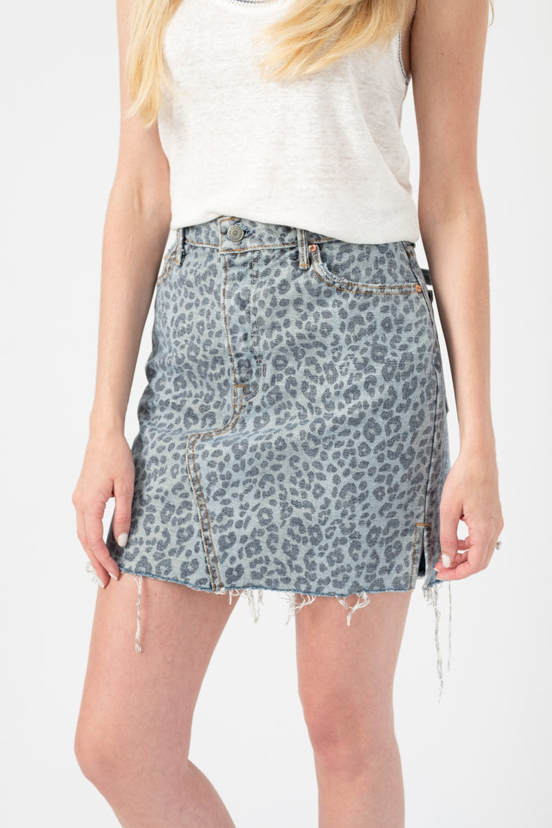 Blaire Denim Skirt in Wild Cat