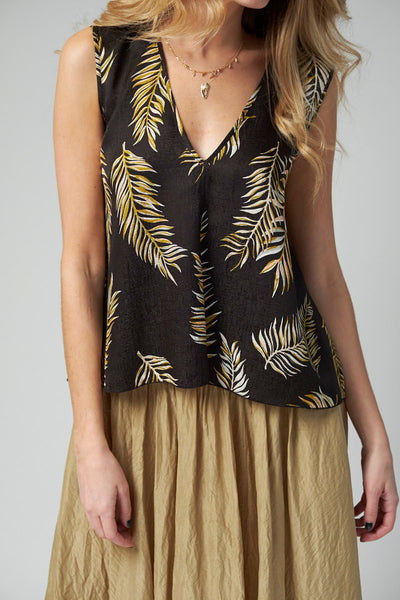Desert Leaf Print Voile Top in Nero