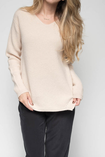 Cashmere English Knit Sweater in Stone