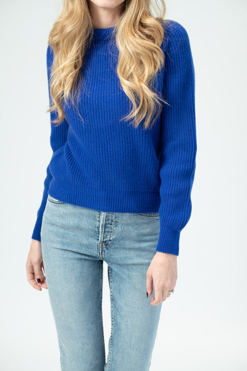 English Knit Cashmere Sweater in Bluette