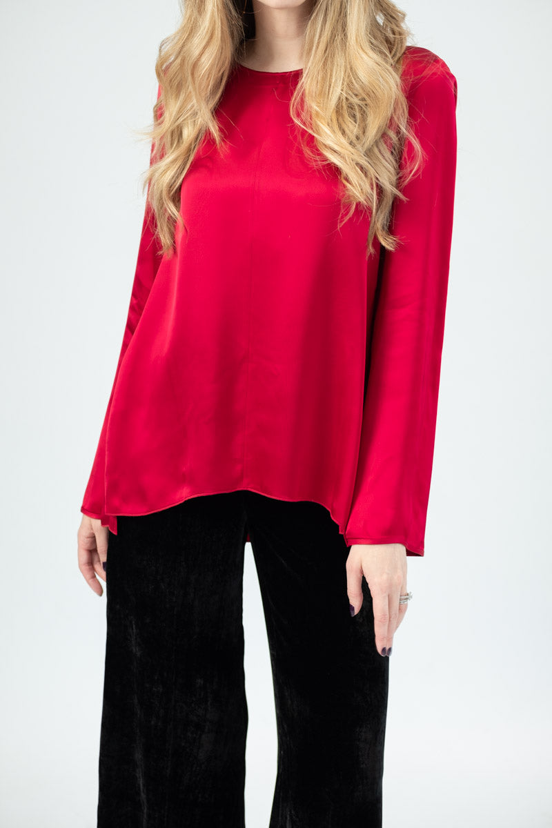 Fluid Satin Round Neck Top in Rubino