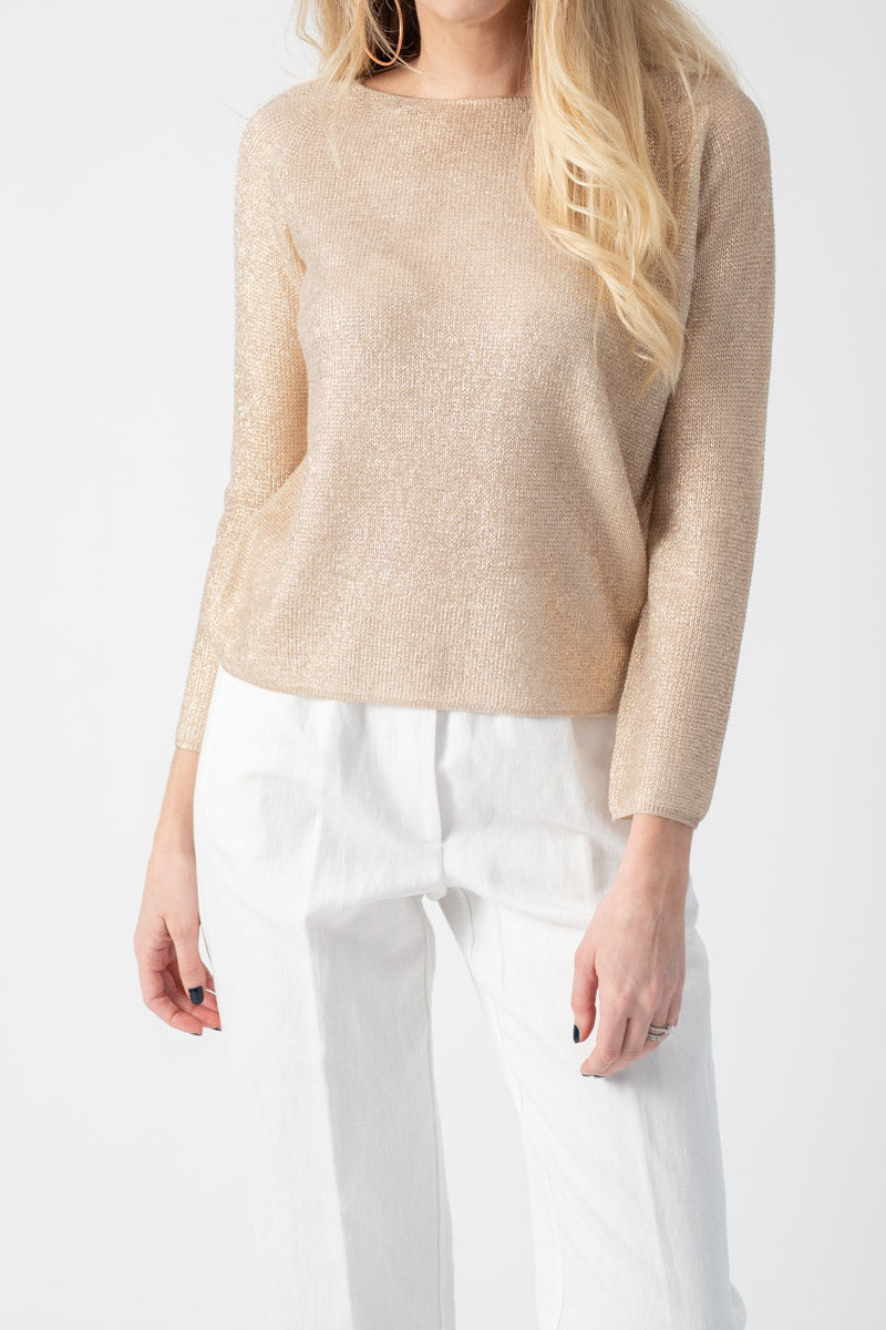 Boat Neck Laminated Cashmere Silk Top in Gesso