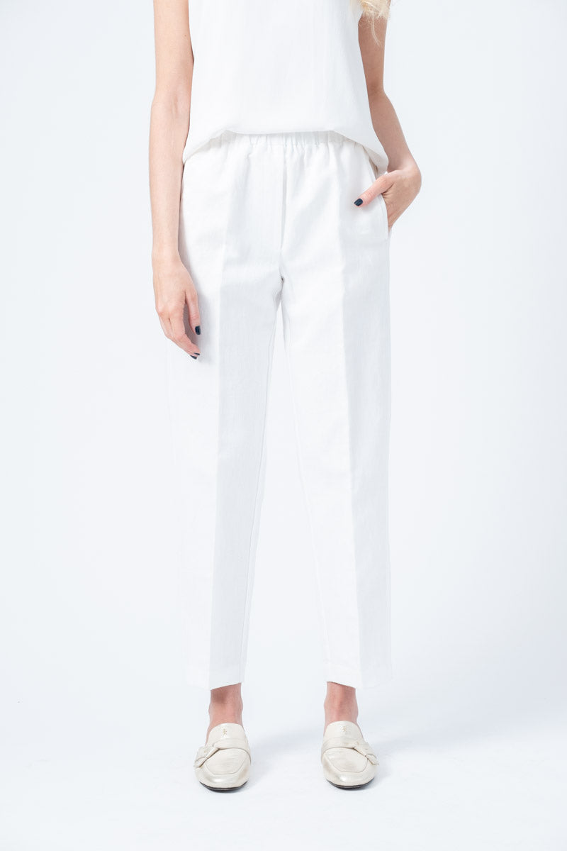 Cotton Linen Pants with Elastic in Naturale