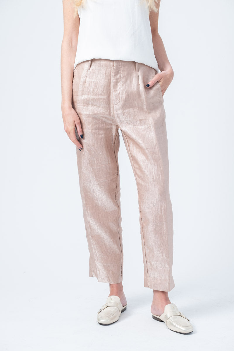Iridescent Linen Satin Pants in Nudo