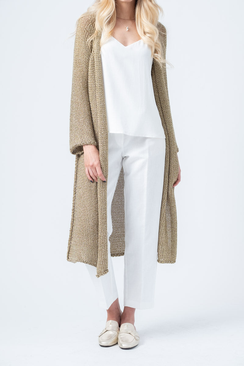 Long Lurex Cardigan in Oro