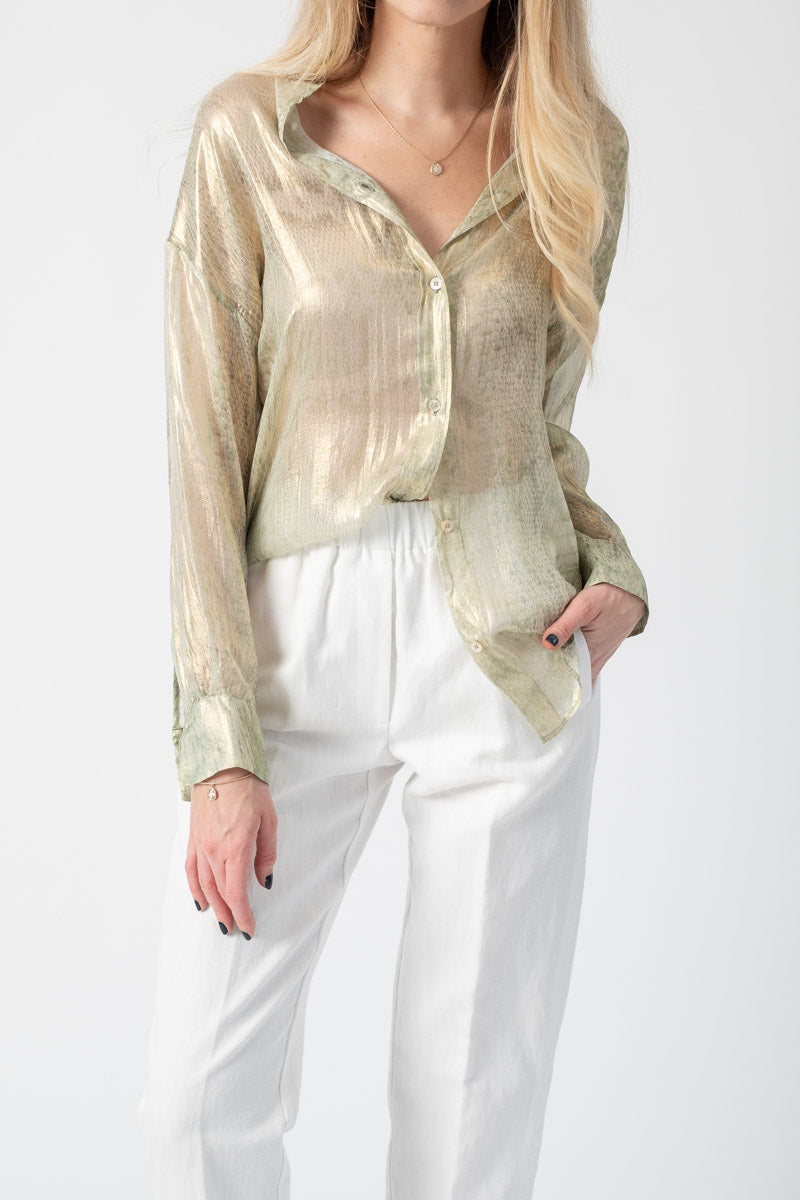 """Underwater Love"" Print Chiffon Silk Shirt in Sirena"