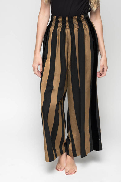 Satin Stripe Stitch Pants with Velvet Detail