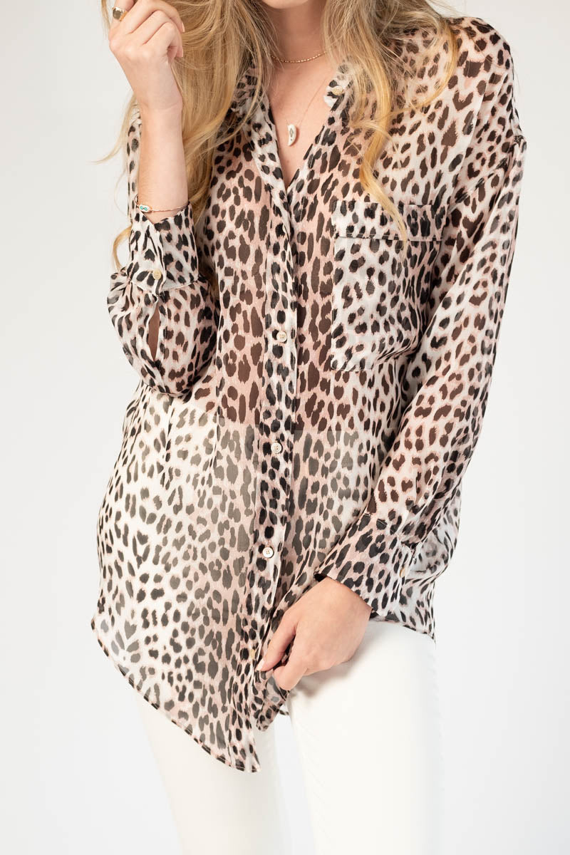Savage Vanity Print Silk Oversized Shirt