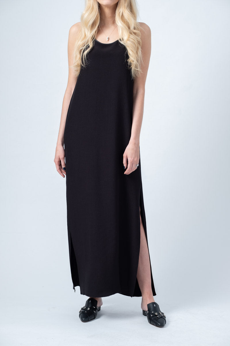 Viscose Crépon Long Dress in Nero